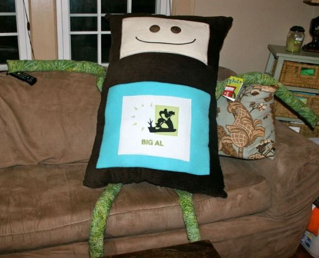 Large stuffed robot on the couch